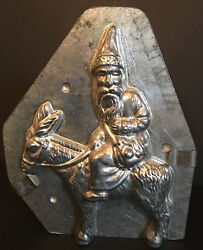 Antique Vintage Santa On Donkey Chocolate Mold. 7 1/4 Tall By 6 Wide.