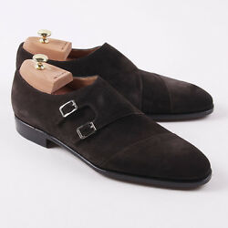Nib 3050 Kiton Brown Calf Suede Double Buckle Monk Strap Us 12.5 Dress Shoes