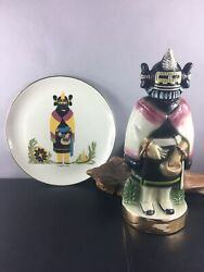 """""""vintage"""" Ezra Brooks The Maiden 1974 Whiskey Decanter And Plate"""