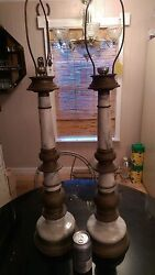 Pair Of Antique Asian Brass And Marble Table Lamps