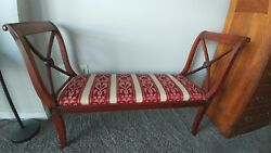 Antique Bench,chair,settee, Scrolled Arms And Medallion Sides. New Cushion Cover