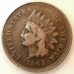 1864-l Indian Head Cent, Bronze, Reverse Rotated 180 Degrees L@@k