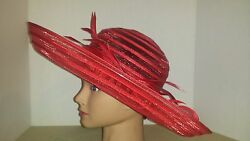 Hat Kentucky Derby Church Easter Red Straw Scula 7 Extra Wide Brim Large Bow