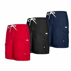 Trespass Mens Surf Shorts Beach For Running Gym Workout in Black amp; Red Crucifer GBP 20.99