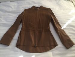 New Nwt Escada Caramel/tan/brown Buttery Soft Leather Mesh Jacket Size 36 Small