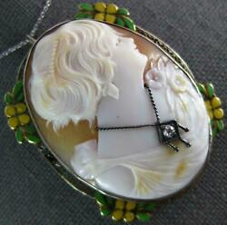 Antique Large .05ct Diamond And Enamel 14kt White Gold Lady Cameo Brooch Pendant