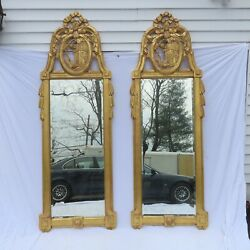 Pair 8 Ft. Monumental French Gilt Mirrors Signed Bruce F. Kunkel 2007 Distressed