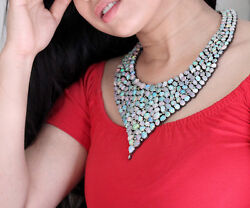 NEW ARRIVALS!! Opal Gemstone Sterling Silver Pave Diamond Bib Necklace Jewelry
