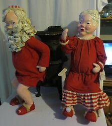Rare Tall 31 Antique Santa And Mrs Claus Pot Belly Stove Paper Mache Figurines