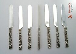 Repousse Square Handle Set Of 7 Fruit Knives Sterling Silver Kirk And Son 925/10