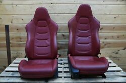 Set of 2 Front Left Right Seat Assembly Red Leather OEM McLaren MP4-12C 12C 2013