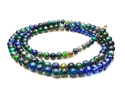 Natural Sapphire Black Opal Necklace Solid 18k Gold 5th 14th 45th Anniversary