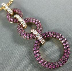 Large 2.16ct Diamond And Aaa Pink Sapphire 18kt Rose Gold Circular Journey Pendant