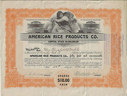 Delaware 1922 American Rice Products Co Stock Certificate
