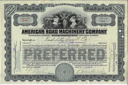 Delaware 1913 American Road Machinery Company Stock Certificate Abn