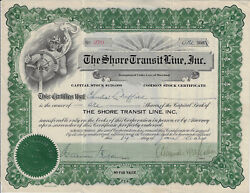 Maryland 1924 The Shore Transit Line Inc Stock Certificate Eastern Shore Bus Co