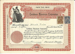 New York Caribbean Resources Corporation Stock Certificate 1913 Revenue Stamps 4