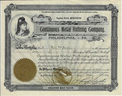 Pennsylvania 1910 Continuous Metal Refining Company Stock Certificate 27 Talbot