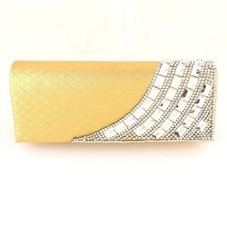 Charming Shell Evening Bag Clutch Gold Bag European Crystal Elements on Front $39.99