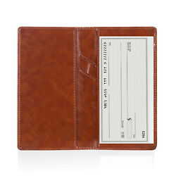Leather Checkbook Cover Holder with Free Divider-Right and Left Handed Design