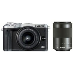 Canon Eos M6 Mirrorless Camera Color Silver Double Zoom Kit Japan Ver. New