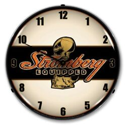 Nostalgic Vintage Style Stromberg Equipped Backlit Led Lighted Wall Clock New