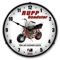 Retro Style Rupp Roadster Mini Bike Game Room Man Cave Led Lighted Wall Clock