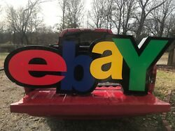 Rare Custom Made Ebay Business Store Sign Lit Wired Metal Sides 70x5x24.5