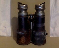 Vintage Binoculars. Chevalier. Brown Leather. Military. Circa Early 1900's.