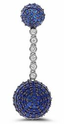 ESTATE 8.99CT DIAMOND & AAA SAPPHIRE 18KT WHITE GOLD 3D PAVE BALL DROP EARRINGS