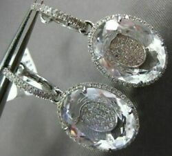 Estate Large 18.93ct Diamond And Aaa Clear Topaz 14kt White Gold Hanging Earrings