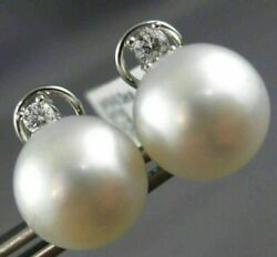 Estate Large .26ct Diamond And Aaa South Sea Pearl 14k White Gold Clip On Earrings