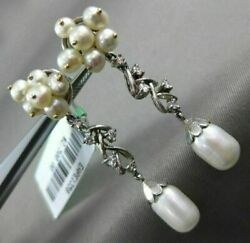 Antique Large .25ct Diamond And Aaa South Sea Pearl 18kt White Gold Leaf Earrings