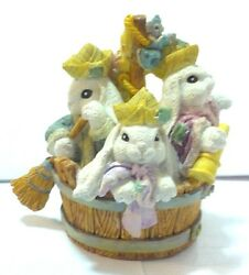 Patchville Bunnies Figurine Tub Floppy Lop Eared Rabbit Statue Off To See World