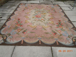 1920and039s Rare Pink Antique Floral Tulip European Rug French Ribbons And Bows