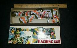 Vintage Tin Army Friction Sparkle Machine Gun Made In Japan Boxed Toy