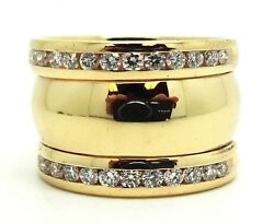 14k Yellow Gold .75 Ctw Diamond Soldered 3 Bands Size 5 / 11.7 Grams