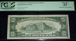 Fr.2022-l 1974 10 Star Note Error Partial Face To Back Offset Pcgs-vf25