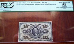 Fr.1254 3rd Issue 10 Cent Autographed Jeffries - Spinner Pcgs - Ch.au 58