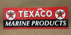 Texaco Marine Products Motor Oil Gas Garage Metal Tin Gasoline Sign Embossed New