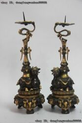 Chinese Bronze 24k Gold Gilt Sheep Beast Head Candlestick Candle Holders A Pair
