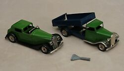 Lot Of 2 Vintage Triang Minic Wind Up Car And Truck Made In Eng.circa 1930rare