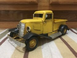 Yellow Ford Chevy Toy Pickup Truck Shop Coke Gas Oil Vintage Style Wall Decor