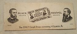 Vintage Antique Paper Ink Blotter Advertising Smith Brothers Black Cough Drops
