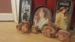 Lot Of 8 Vintage Coca-cola Tin Serving Trays And Tin Boxes