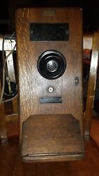 Antique Old Wood Box Wall Mount Leich Electric Telephone Gb 1317-du Railroad