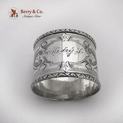 Antique Engine Turned Engraved Napkin Ring Coin Silver 1880