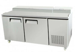 New 67 Two 2 Door Refrigerated Pizza Salad Prep Table 20 Cu. Ft. Restaurant