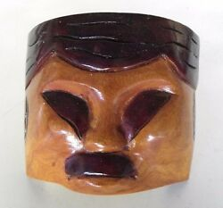 Wooden Carved Chinese Asian Face Mask Polished Two-tone Wood Wall Art