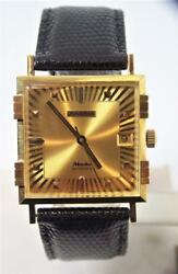 Nos 18k Gold Juvenia Macho Mens 25j Automatic Watch 8902 Gold Dial And 4bars Case